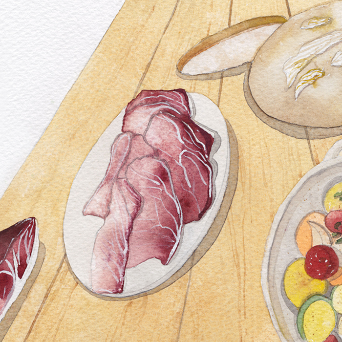 Alessia Serafini - watercolors - geographies gourmandes - Paris, Work : Premiata Salumeria Italiana n.6